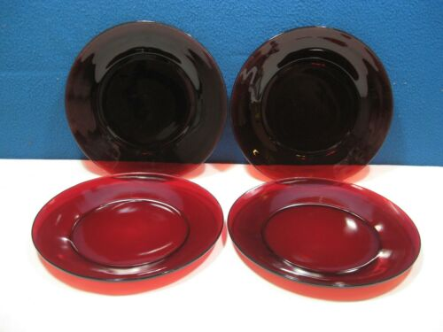 Ruby Red  Glass 9 inch Dinner Plates