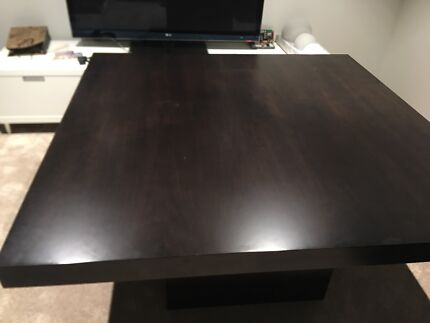 Chocolate square dining table