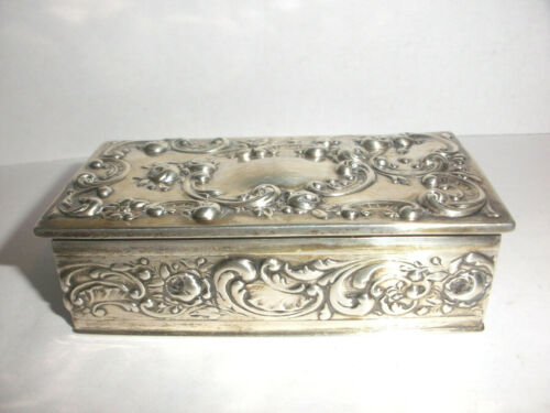 Great Antique Gorham sterling silver repouse trinket stamp box