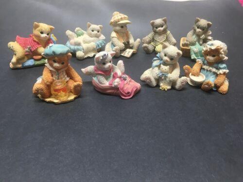 Lot of 9 Priscilla Hillman Cat/Kitten Figurines– Excellent Condition