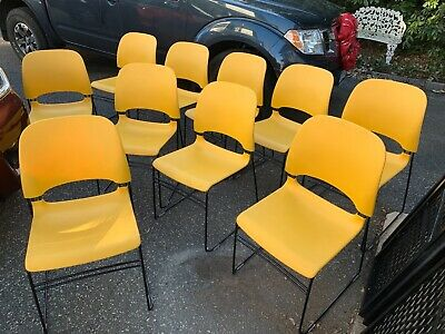 10 Yellow Color Herman Miller Limerick Stacking Chairs