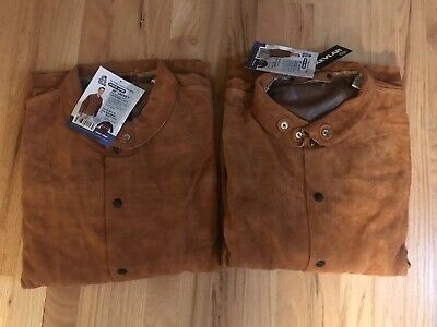 2 New Steiner Xl Brown Leather Cowhide Welding Jackets Coats 9215-x 30 In.