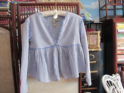 Dizzy Love Blue   White Striped Blouse 100  Cotton Xs From Von Maur