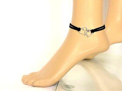 Fußkettchen Fußkette Schwarz Silberfarben Herz Leder-Imitat 22,5 cm + 6 cm Verl.