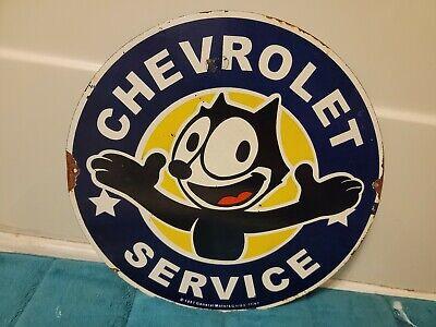 Vintage Chevrolet Service Porcelain Sign Automotive Farm Hunting Fishing Camping