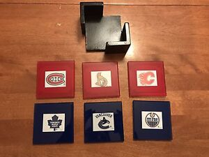 Hockey glass coasters