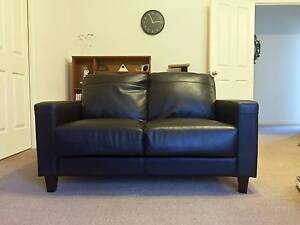 Leather-look Black 2 Seater Sofa Edwardstown Marion Area Preview
