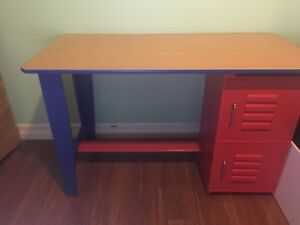 Red and blue desk