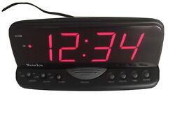 Westclox Oversized Digital Snooze Alarm Clock Black Model 22717 Red LED Desk
