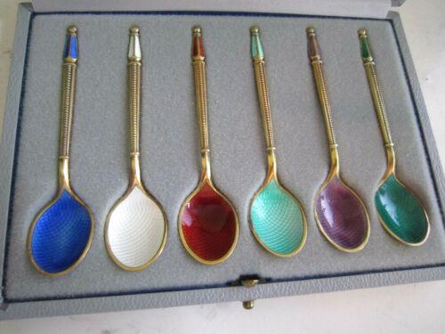 6 Anton Michelsen Demitasse Spoons Sterling Silver Enamel Guilloche Denmark