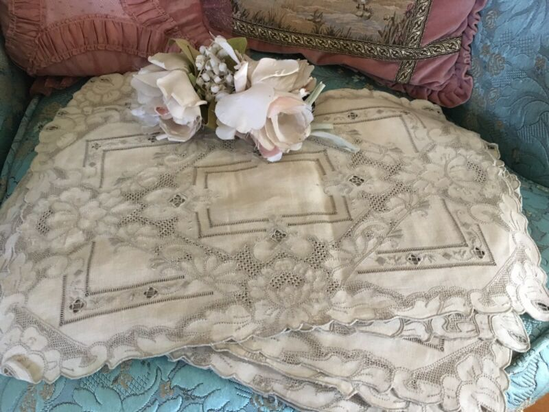 12 Antique Italian Lace Place Mats Linen Fabric Floral Needle Work 16x10 #H