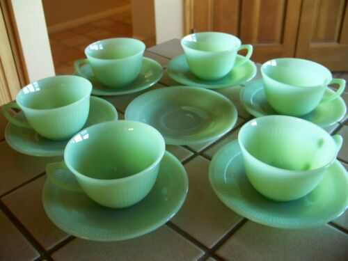 FIRE KING JADE-ITE JANE RAY 6 SETS CUP & SAUCER & 1 Extra Saucer  UNMARKED