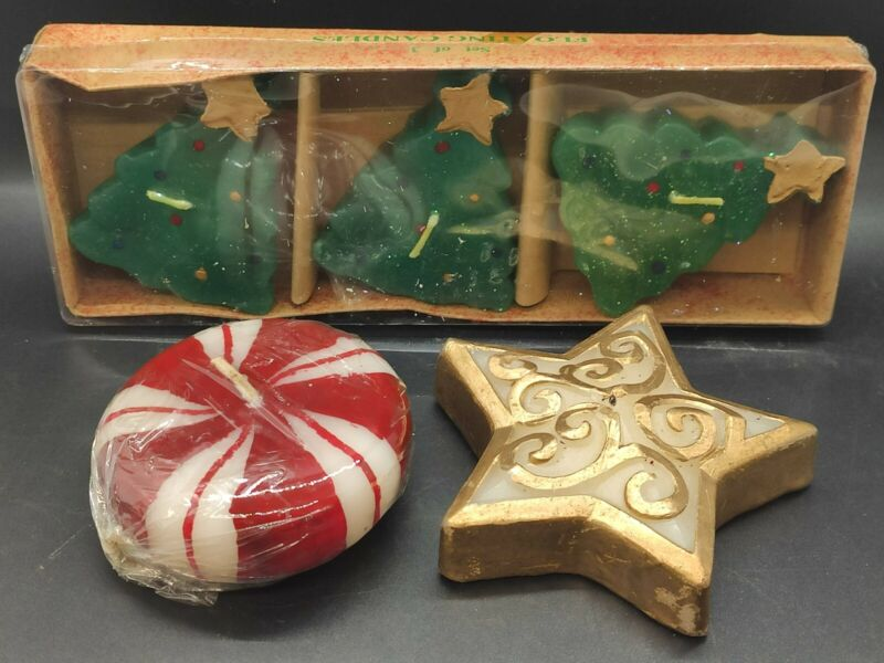 5 Christmas Floating Candles- Christmas Tree, Star And Peppermint Candles