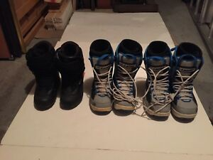 3 pairs of snowboard shoes, $30 each