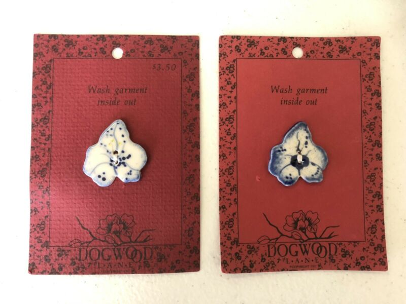 2 Ceramic Dogwood Lane Floral Hand Painted Buttons New On Cards