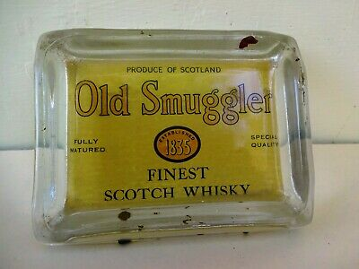 Vintage Old Smuggler Finest Scotch Whisky Scotland Ashtray Glass Collectibles *F