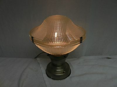 Vintage Industrial Barn old ceiling Holophane shade  mid century touch light **