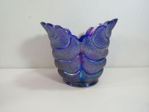 Imperial Cobalt Carnival Glass Aurora Jewels Leaf Vase