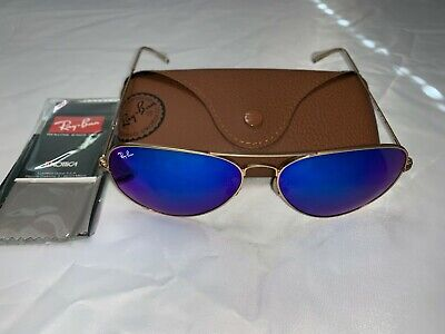 Ray-Ban Aviator Sunglasses RB3026 62mm 112/17 Gold Frame with Blue Flash (Mirrored Aviator Ray Bans)