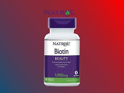 Biotin, Natrol, 100 tablets 1000 mcg | viviscal | hair growth | unisex | (Biotin 1000 Mcg 100 Tablets)