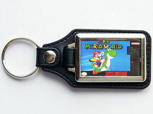 SUPER-MARIO-WORLD-Super-Nintendo-SNES-Cover-Art-Quality-Chrome-Leather-Keyring
