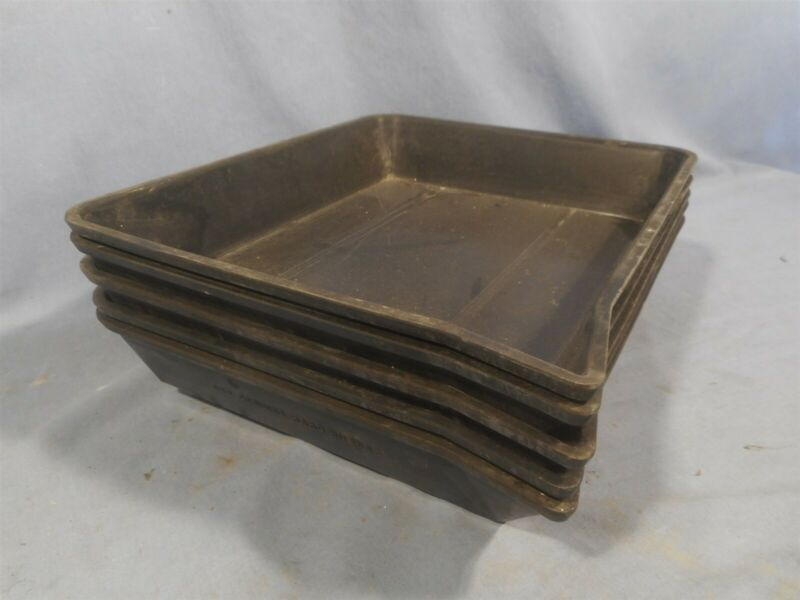 """5 Vintage Ace American Hard Rubber USA Developing Darkroom Trays 8"""" x 10"""""""