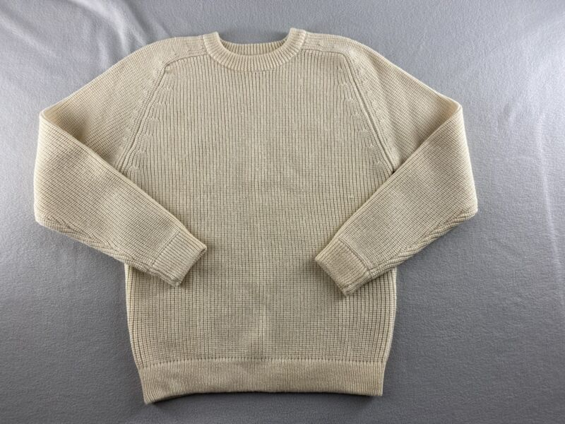 Vintage Eastern Mountain Sports EMS Mens Wool Fisherman Sweater Ivory Size S