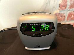 Philips AJ3241 AM/FM Dual Alarm Clock Radio - Silver Cube -. Tested & Works