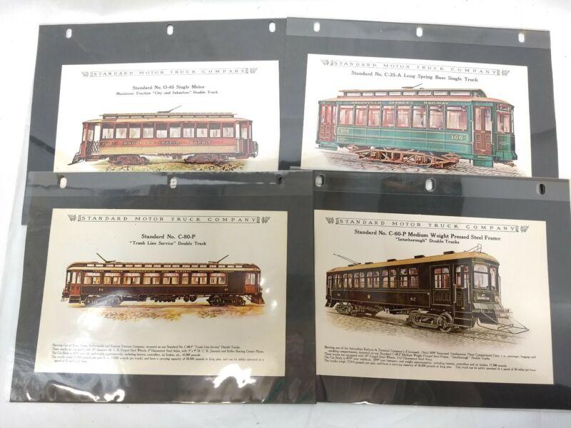 "Lot of 8- Vintage ""Standard Motor Truck"" Streetcar Interurban Color Ad Prints"