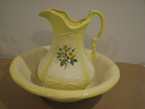 Antique 1890 Ironstone Yellow with Roses Ceramic Basin & Pitcher