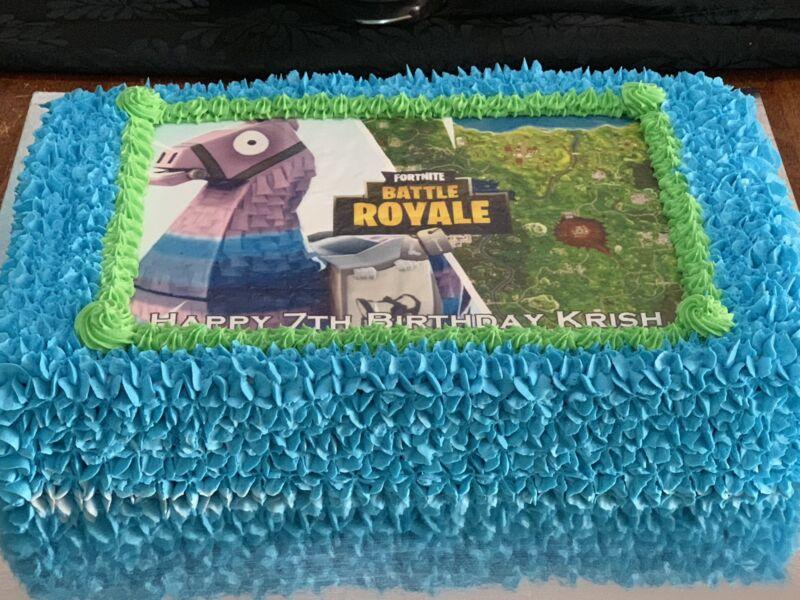 Battle Royale Fortnite Llama Large Slab Mud Cake Birthday Catering