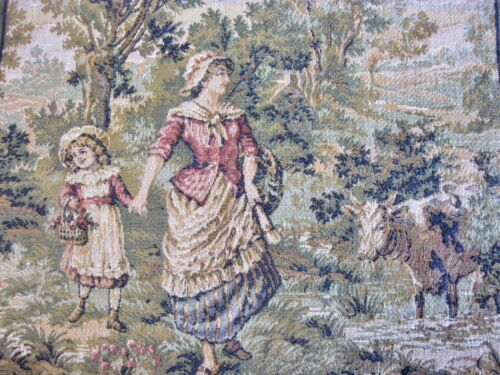 VINTAGE MINI SMALL RURAL TAPESTRY SEWING FRAMING WALL HANGING ART MADE IN FRANCE