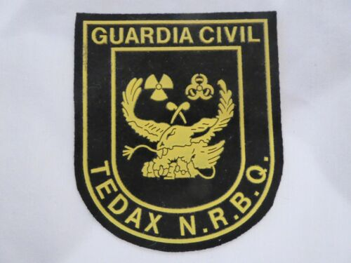 SPAIN TEDAX BOMB DISPERSAL CIVIL N..R.B.Q. VINYL POLICE UNIFORM BADGE, NEW!