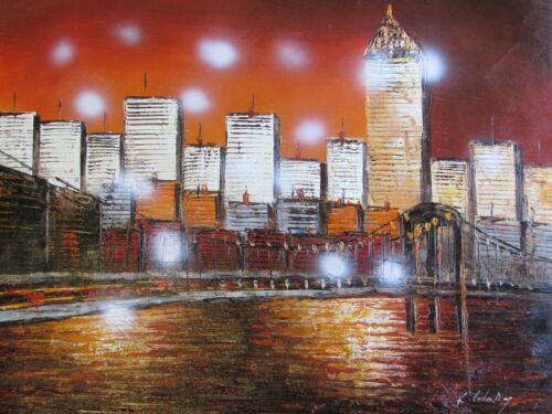 abstract+buildings+cityscape+large+oil+painting+canvas+original+New+York+art+