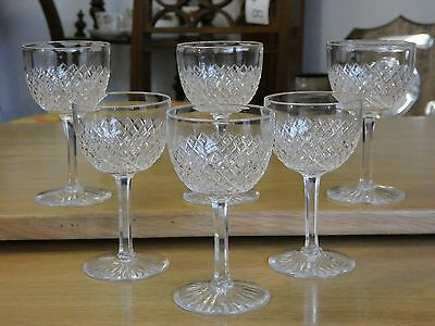 "Six 6 Vintage Stuart Crystal Diamond Strawberry Cut Glasses 4 1/4"" high"