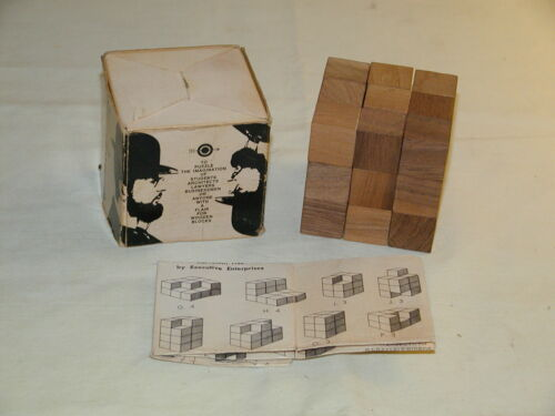 Vintage Fascinating Cube Wooden Brain Teaser Puzzle by Executive Ent 1966 2½x2½""