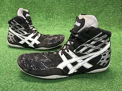 new concept a58d6 0f0f3 RARE Vintage Asics Split Second Wrestling Shoes Size 11.5 Men s Black  Silver Web