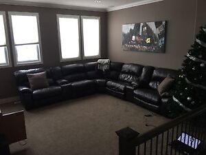 Dark brown leather sectional for sale