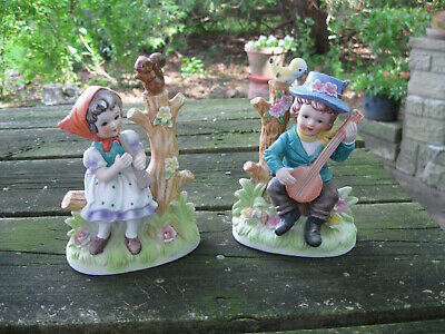 "Vtg 5"" Boy and Girl Figurine Playing Musical Instruments Figurines Collectibles"