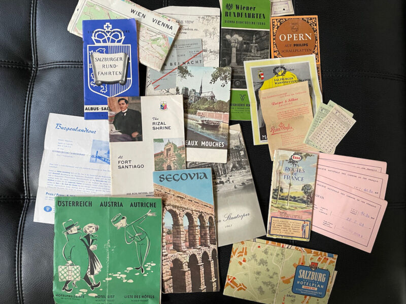 12 VINTAGE 1962 1963 EUROPE TRAVEL MAPS BROCHURES TICKETS GERMANY FRANCE SPAIN