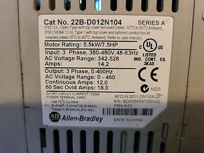 Allen-bradley 22b-d012n104 Powerflex 40 Ac Drive Used