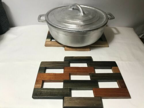 100% Jamaican made Traditional Old-time dutch pot and Jamaican wood trivets set