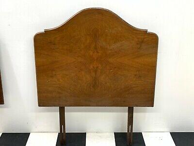 Antique vintage bur walnut solid single bed headboard bedstead art deco 1of2