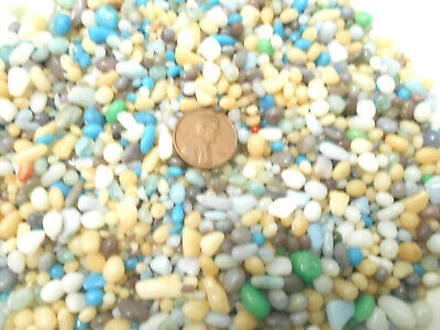 5oz Glass Pebbles Blue Turquoise Cream Beige Crafts Jewels Gem Fairy Garden