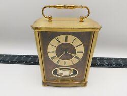 Vintage Versailles Quartz Pendulum Carrage Mantel clock Solid Brass West Germany