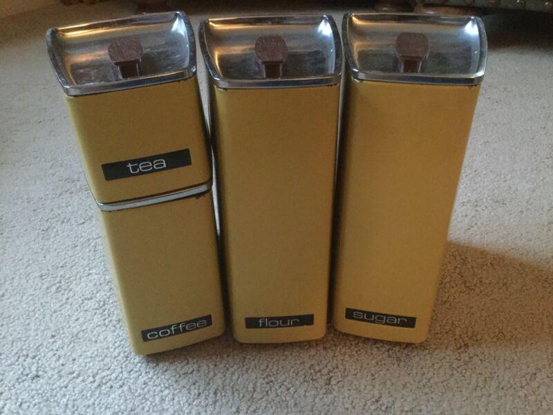 Rare! Vintage Yellow 4 Canister Set Lincoln Beautyware Flour Coffee Sugar Tea