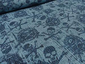 ☻ Stoff BW Jersey Skull & Bones Totenkopf Piraten Jeans Look blau bedruckt ☻