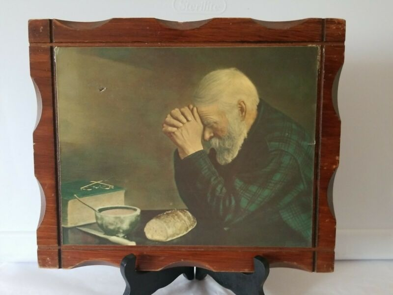 Vintage Eric Enstrom GRACE Decoupage Picture on Wood Man Praying Over Bread