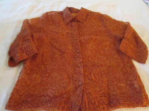 Women's Orange Rust V-neck Burnout Button-front Collared Blouse Shell ~ Size 16