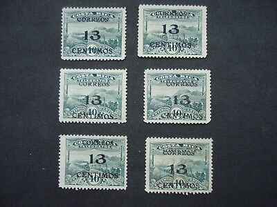 5 Unused and 1 Used Telegraph  Stamp Costa Rica